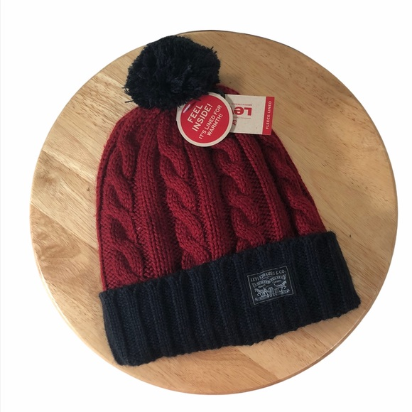 Levi's Cable Knit Sweater Beanie Hat Fleece Lined